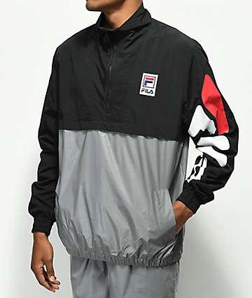 FILA Reece Black & Silver Pullover Jacket