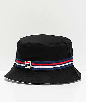 ed0e8121 FILA Reversible Black Bucket Hat