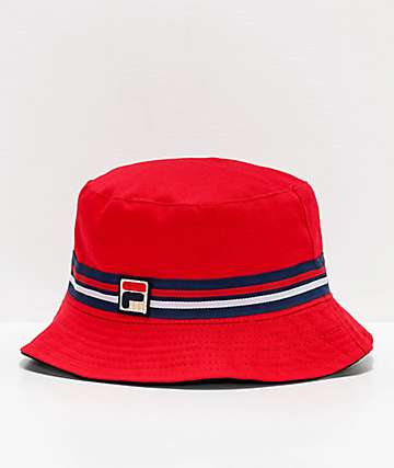 FILA Reversible Red Bucket Hat