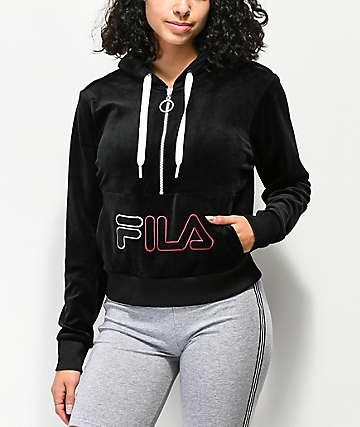 FILA Rosella Black Velour Half Zip Hoodie