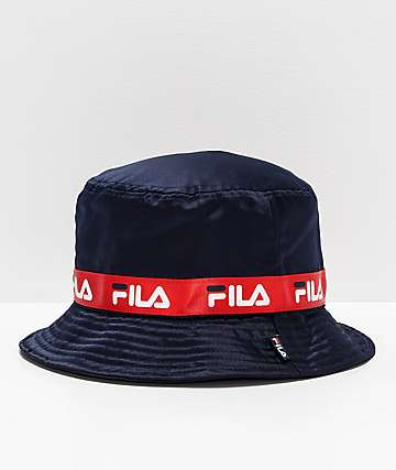 FILA Satin Jacquard Navy Bucket Hat