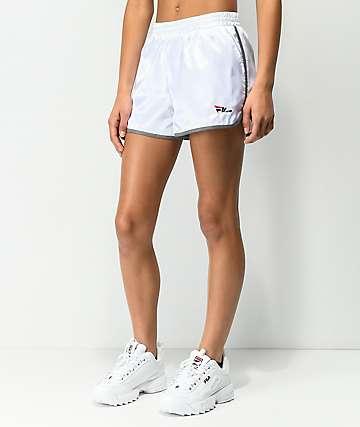 FILA Serena White Satin Dolphin Shorts