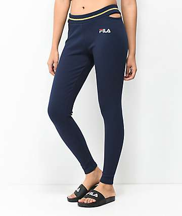 FILA Shania Navy Ribbed Leggings
