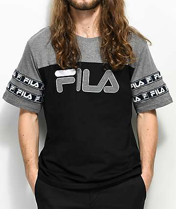 FILA Tag Logo Black & Grey T-Shirt