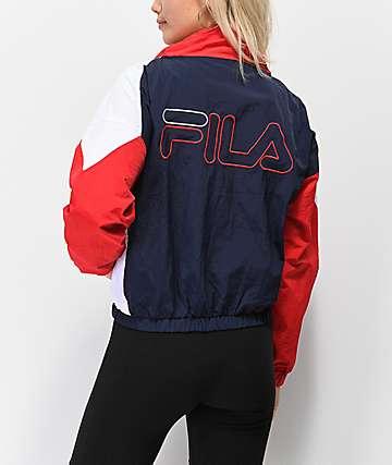 FILA Tessa chaqueta cortavientos roja. azul y blanca