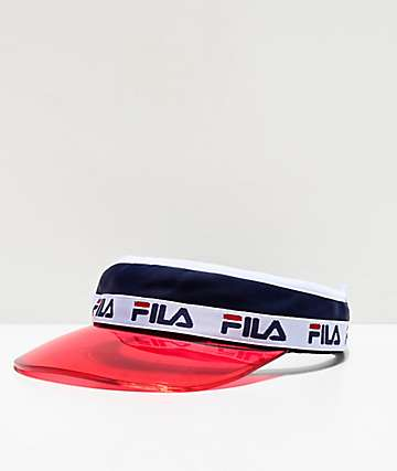 FILA Translucent Plastic Brim Red, Navy & White Visor