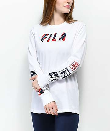 FILA Uma White, Red and Navy Long Sleeve T-Shirt
