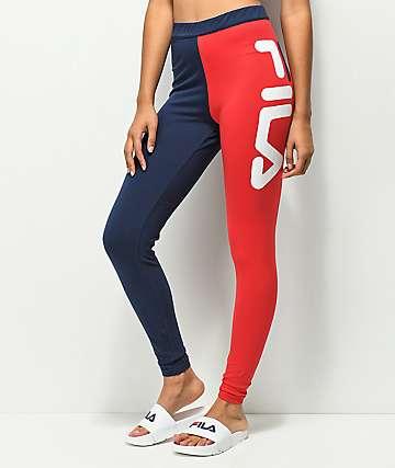 FILA Vita leggings de talle alto azul y rojo