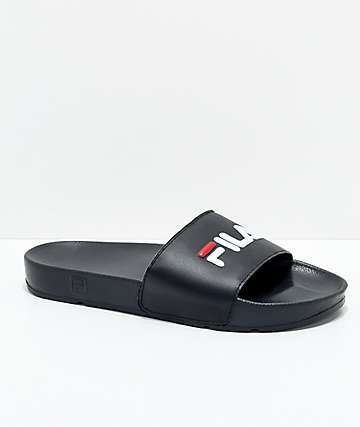FILA Womens Drifter Black, Red & White Slide Sandals
