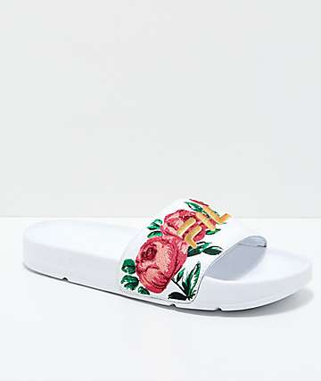 FILA Womens Drifter Rose Embroidered White Slide Sandals