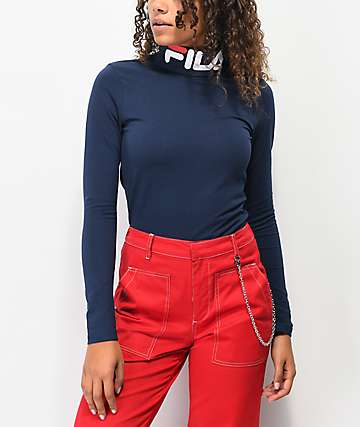 FILA Yvette Navy Turtleneck Long Sleeve Top