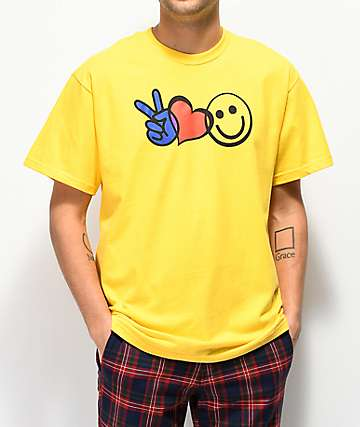 FRESHHELL Peace Luv Happiness Yellow T-Shirt