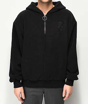 Fairplay Black Sherpa Half-Zip Hoodie
