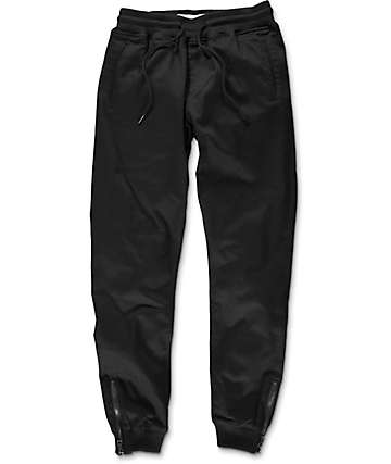 Fairplay Britton Black Zip Twill Jogger Pants