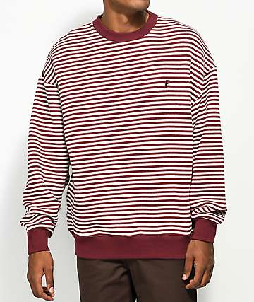 Fairplay Chor Maroon Stripe Crew Neck Sweatshirt