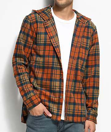 Fairplay Dimitri Orange & Navy Hooded Flannel Shirt