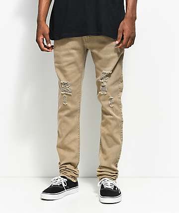 Fairplay Lathan Taupe Ripped Jeans