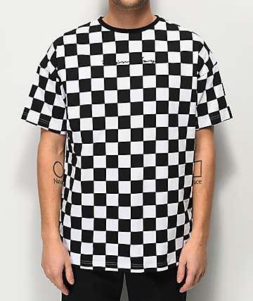 Fairplay Latore Black & White Checkered Knit T-Shirt