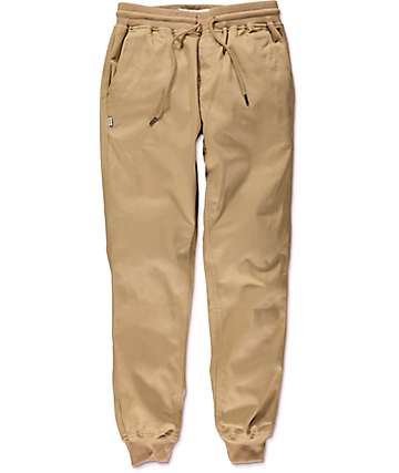 Fairplay Ribbed Cuff Khaki Twill Jogger Pants