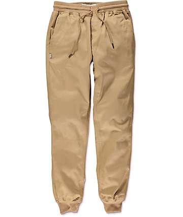 Fairplay Ribbed Cuff pantalones jogger asargados en caqui