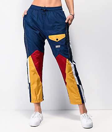 Favelo Blue & Red Colorblock Jogger Sweatpants