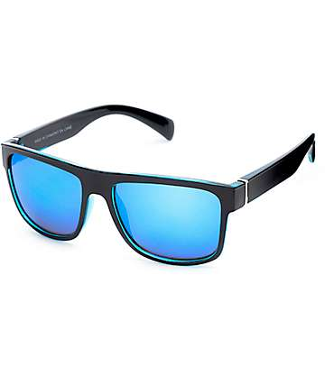 Flat Top Black & Blue Revo Sunglasses