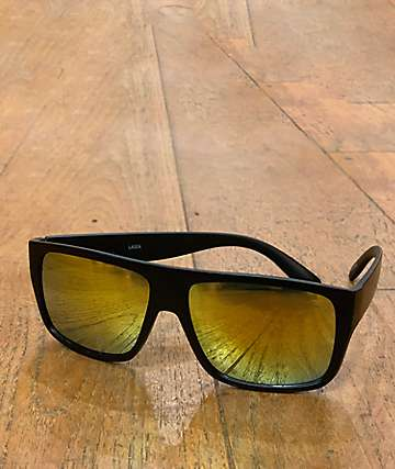 Flat Top Mirror Lens Black Sunglasses