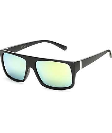 Flat Top Wrap Green & Matte Black Sunglasses