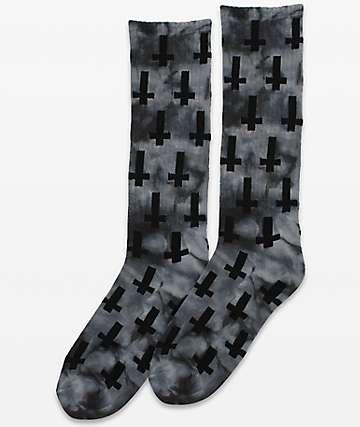 Flying Coffin Inversion Black Tie Dye Crew Socks