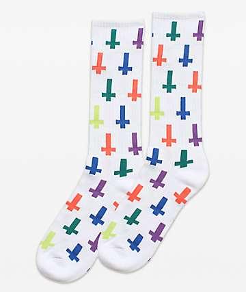 Flying Coffin Inversion White & Multicolor Crew Socks