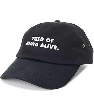 Flying Coffin Tired Of Being Alive Black Strapback Hat