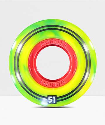 Form Dualite Rasta Swirl 51mm Skateboard Wheels