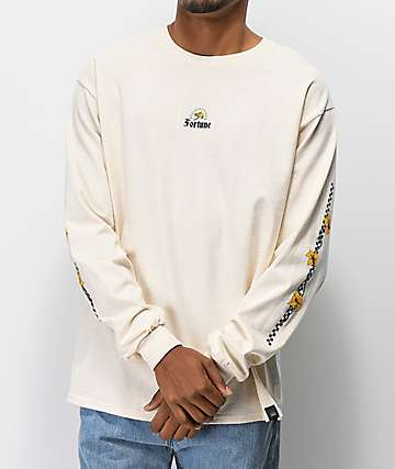 Fortune Checkered Lily Cream Long Sleeve T-Shirt