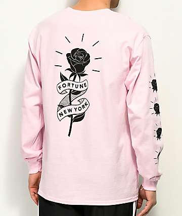 Fortune Rose Ribbon Pink Long Sleeve T-Shirt