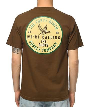 Forty Ninth Supply Co Calling The Shots Coffee Brown T-Shirt