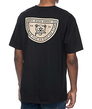 Forty Ninth Supply Co Dead Fish Flow Black T-Shirt