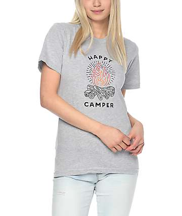 Forty Ninth Supply Co Happy Camper Grey T-Shirt