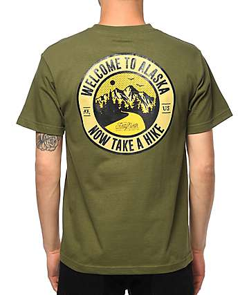 Forty Ninth Supply Co Take A Hike camiseta en verde olivo