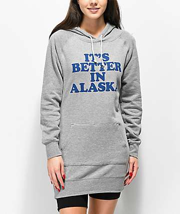 Forty Ninth Supply Co. Its Better In Alaska sudadera con capucha gris