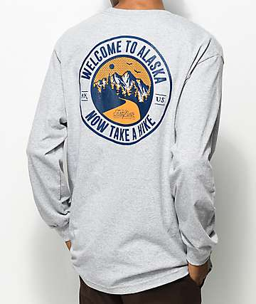 Forty Ninth Supply Co. Take A Hike Grey Long Sleeve T-Shirt
