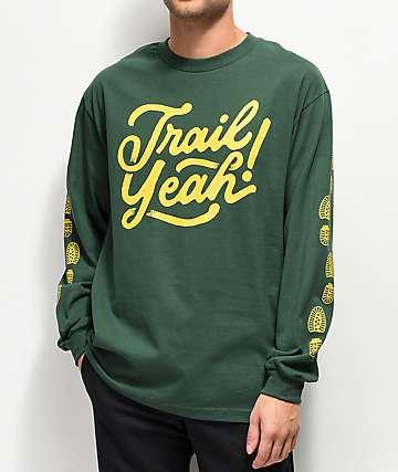 Forty Ninth Supply Co. Trail Yeah camiseta verde de manga larga