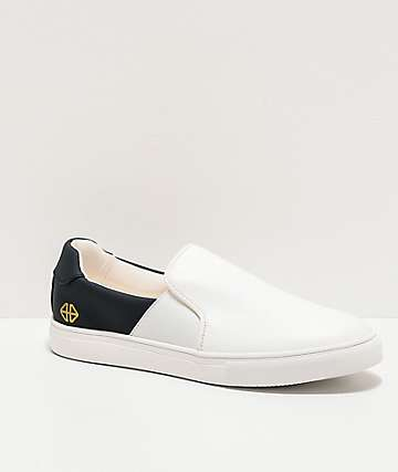 Forwin S3EN White & Navy Slip-On Shoes