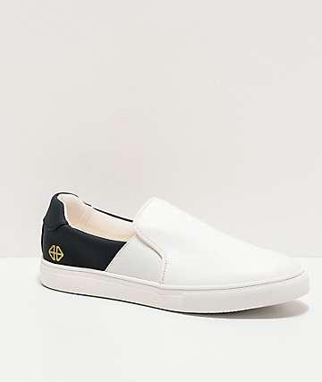 Forwin S3EN White & Navy Slip-On Shoes