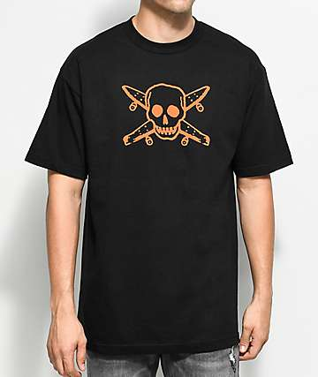 Fourstar Skate Pirate camiseta negra y color naranja