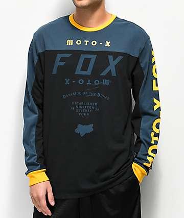 Fox Factory Airline  camiseta de manga larga azul, negra y amarilla