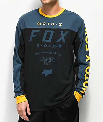 Fox Factory Airline Navy, Black & Yellow Long Sleeve T-Shirt