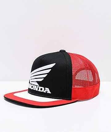 Fox x Honda gorra de camionero negra, roja y blanca