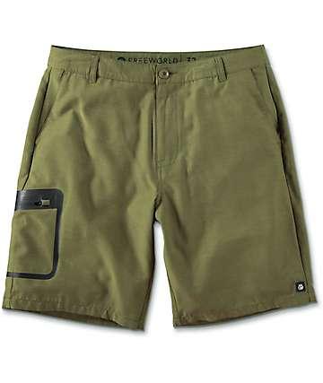 Free World Barrel Heather Olive Tech Hybrid Shorts
