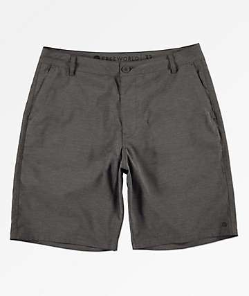 Free World Glassy Charcoal Stretch Hybrid Board Shorts