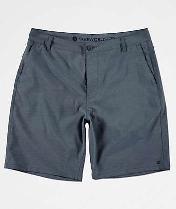 Free World Glassy Stretch Heather Blue Hybrid Shorts